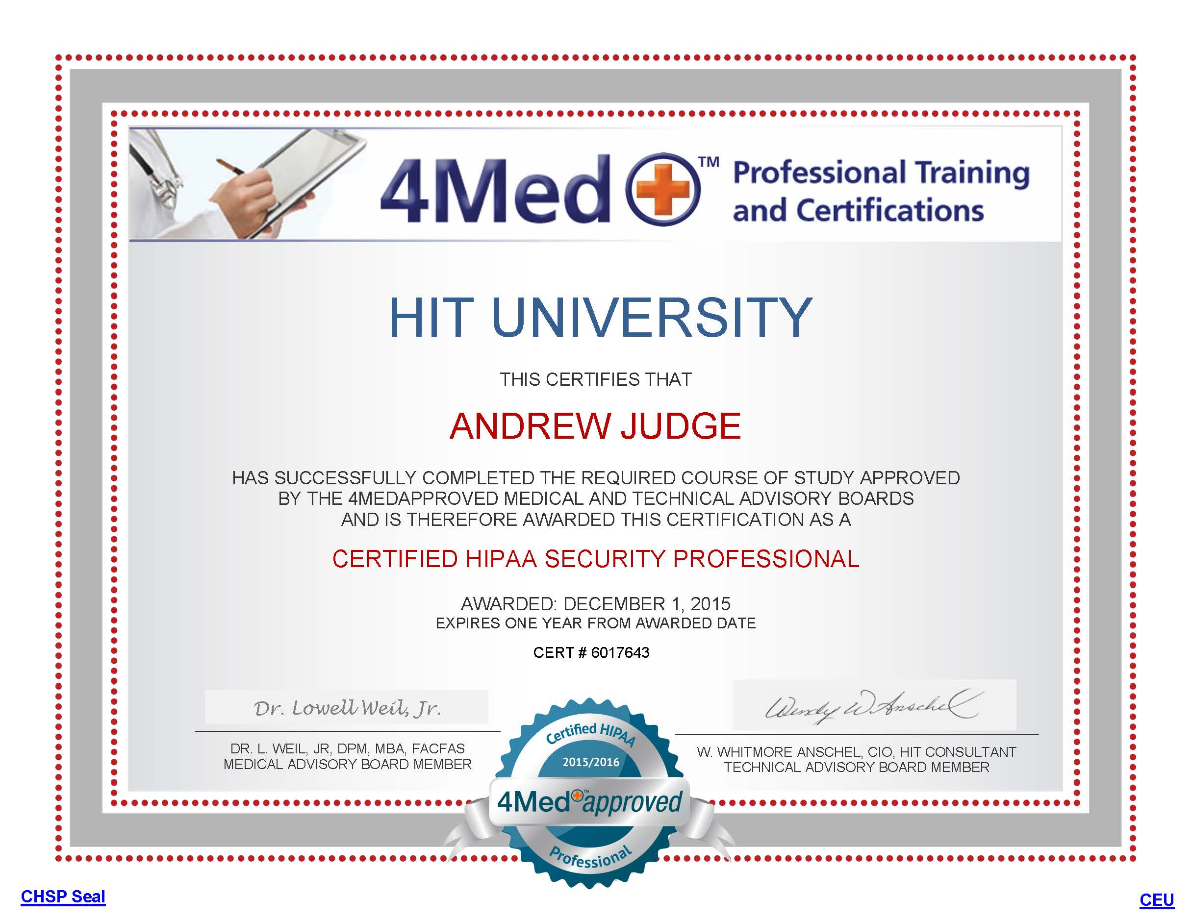 Andrew Judge Becomes A Certified Healthcare Safety Professional